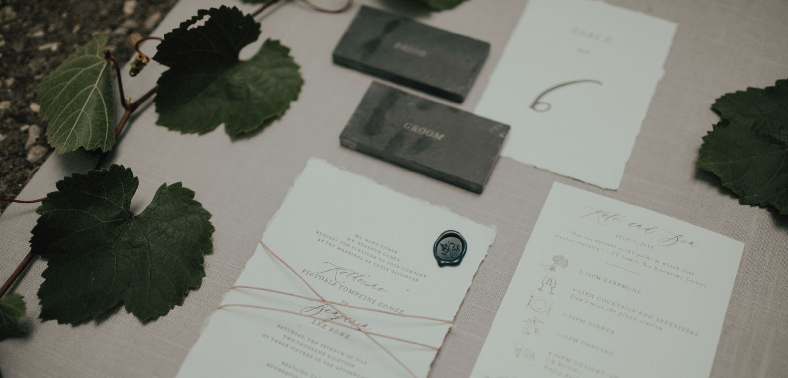 Kate and Ben Full Custom Wedding Invitations