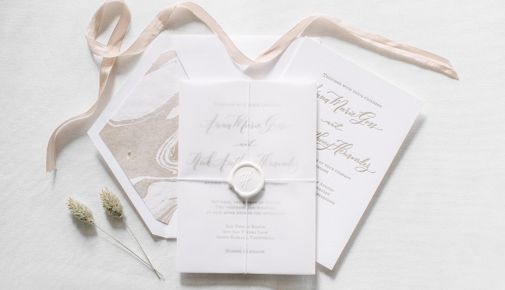 Classic calligraphy invitation suite with wax seal and vellum wrap