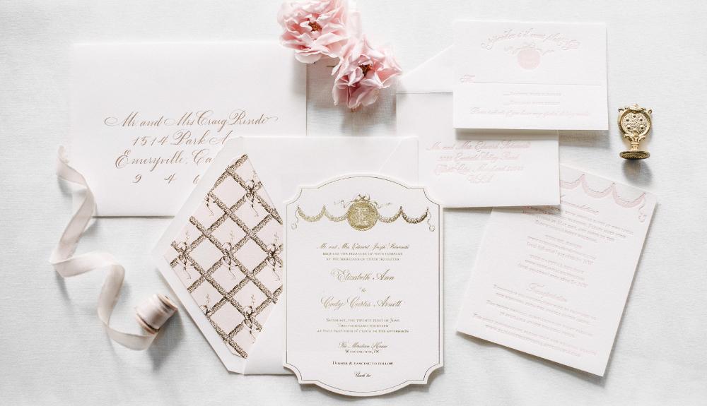 Parisian, ballet inspired gold foil and blush letterpress invitation suite, as seen in Martha Stewart Weddings