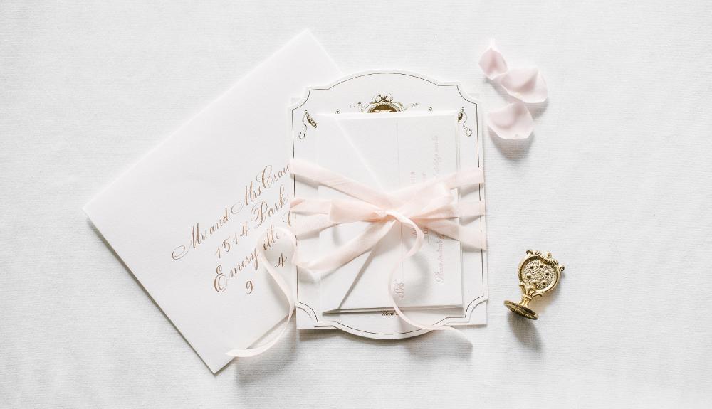 Parisian, ballet inspired gold foil and blush letterpress invitation with monogram, as seen in Martha Stewart Weddings