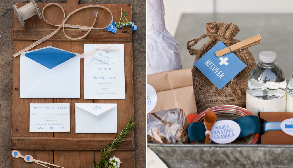 Rustic, Napa Valley inspired letterpress wedding invitations and welcome basket