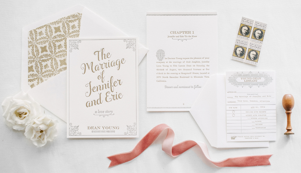 Gold and gray classic library inspired invitation suite with card catalogue rsvp card and book cover invitation