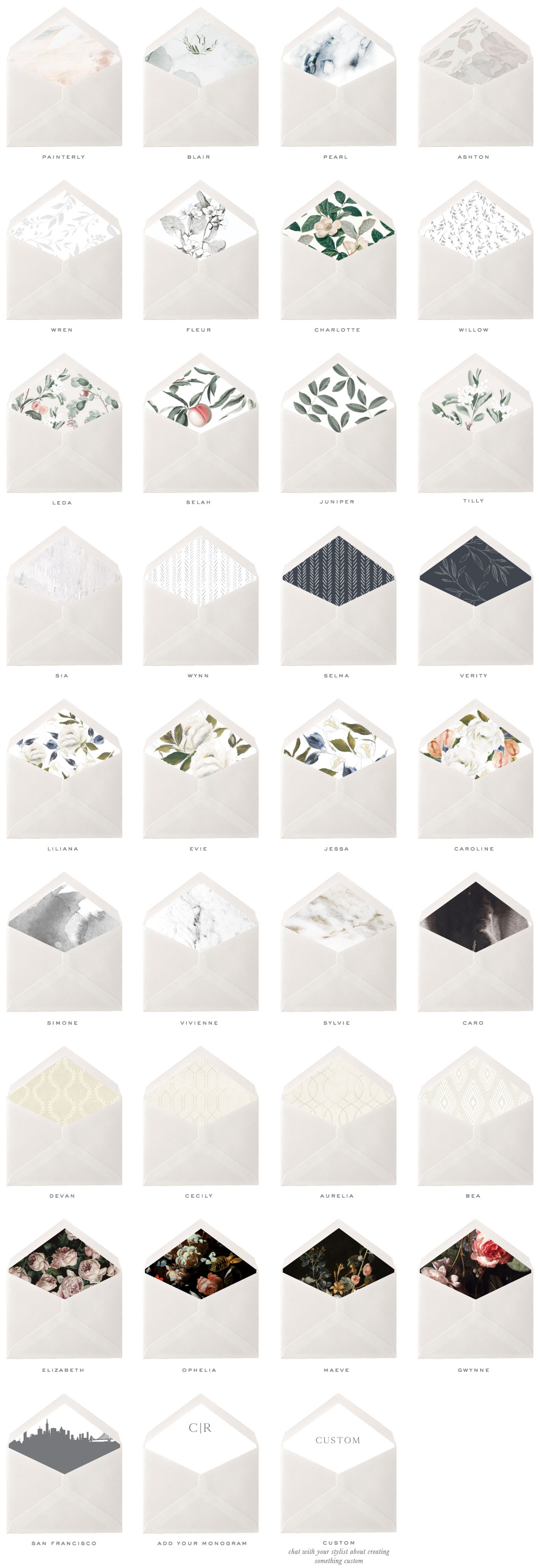 Envelope Liners | Standard Non-Customizable