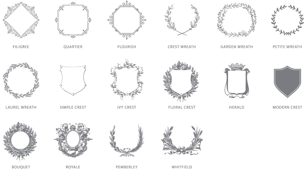 Monogram Options | Frame Styles