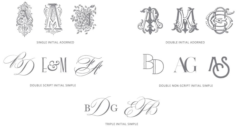 Monogram Options | Initial Styles