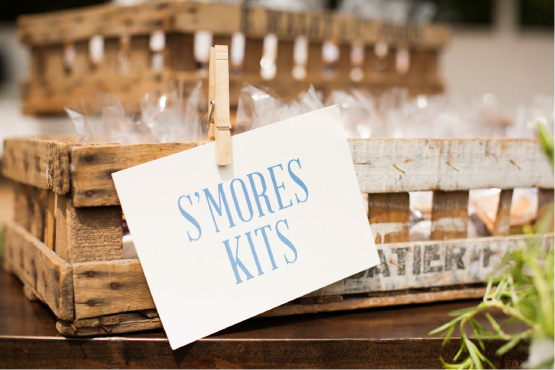 S'mores kit typographic sign for wedding guests