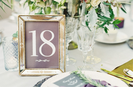 Large Framed Wedding Table number with warm gray background