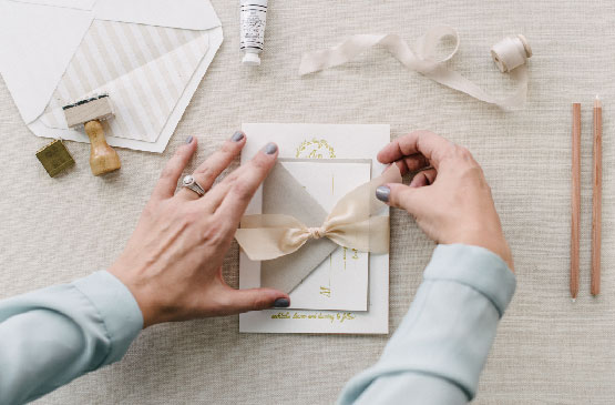Blush Ribbon Wedding Invitaion