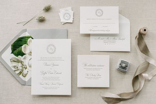 Bianca Letterpress Wedding Invitation | Classic + Vintage + Rustic