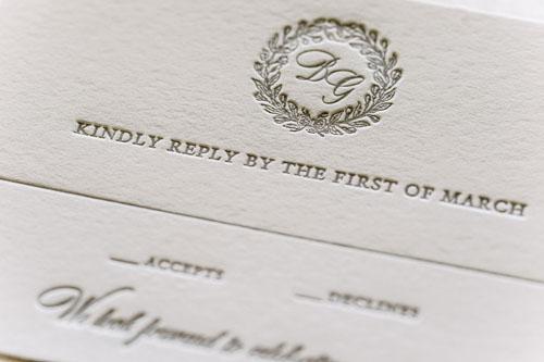 Bianca Letterpress Wedding Invitation | Classic + Vintage + Rustic