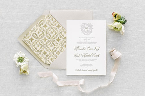 Capulet Letterpress Wedding Invitation   Classic + Vintage