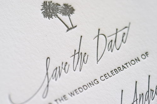 Riviera Letterpress Wedding Invitation | Destination