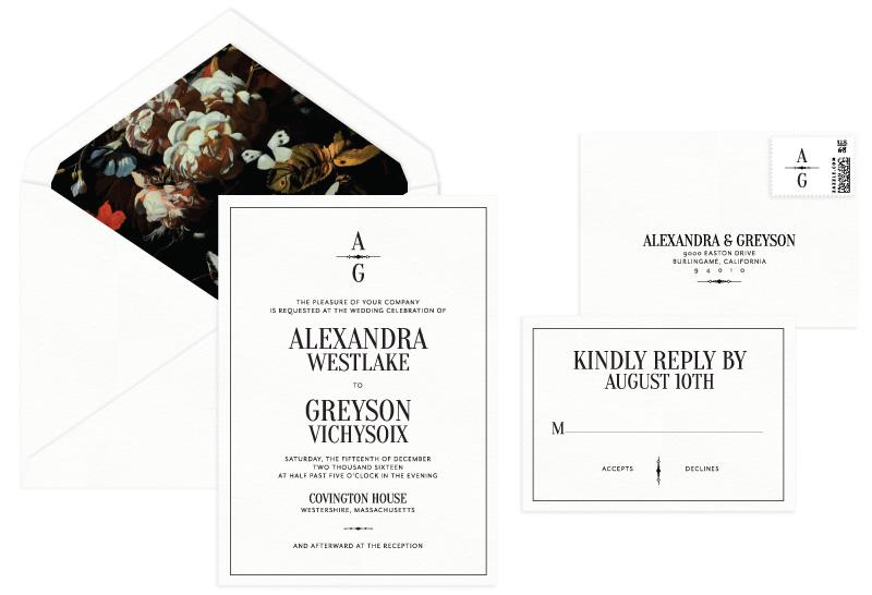 Andover Letterpress Wedding Invitation | Classic