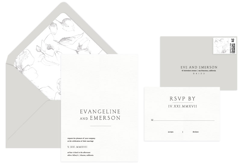 Belvedere Letterpress Wedding Invitation | Classic + Modern