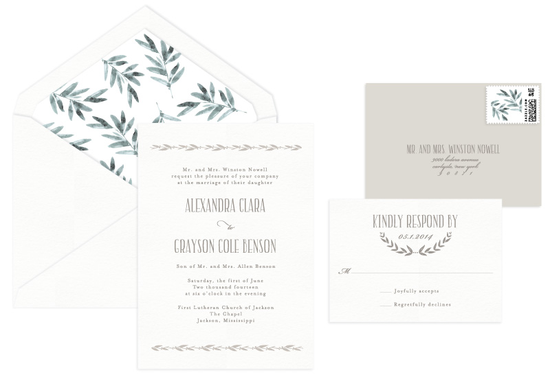 Coronet Letterpress Wedding Invitation | Classic + Rustic