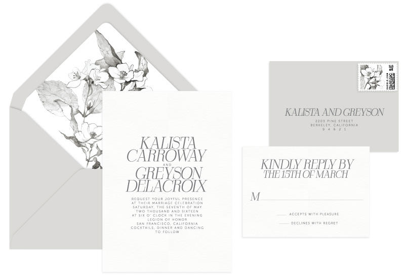 Kalista Letterpress Wedding Invitation | Destination + Modern