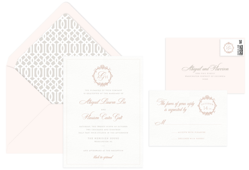 Prima Letterpress Wedding Invitation | Destination + Modern