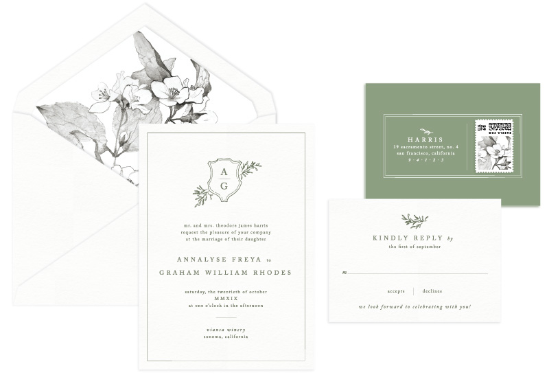 Sonoma Letterpress Wedding Invitation | Classic + Botanical