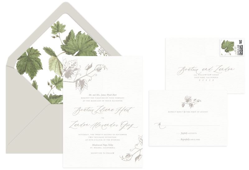 Vineyard Letterpress Wedding Invitation | Destination + Rustic