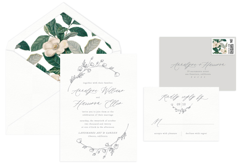 Whittier Letterpress Wedding Invitation | Botanical + Contemporary