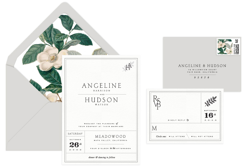 Woodrow Letterpress Wedding Invitation | Classic + Modern