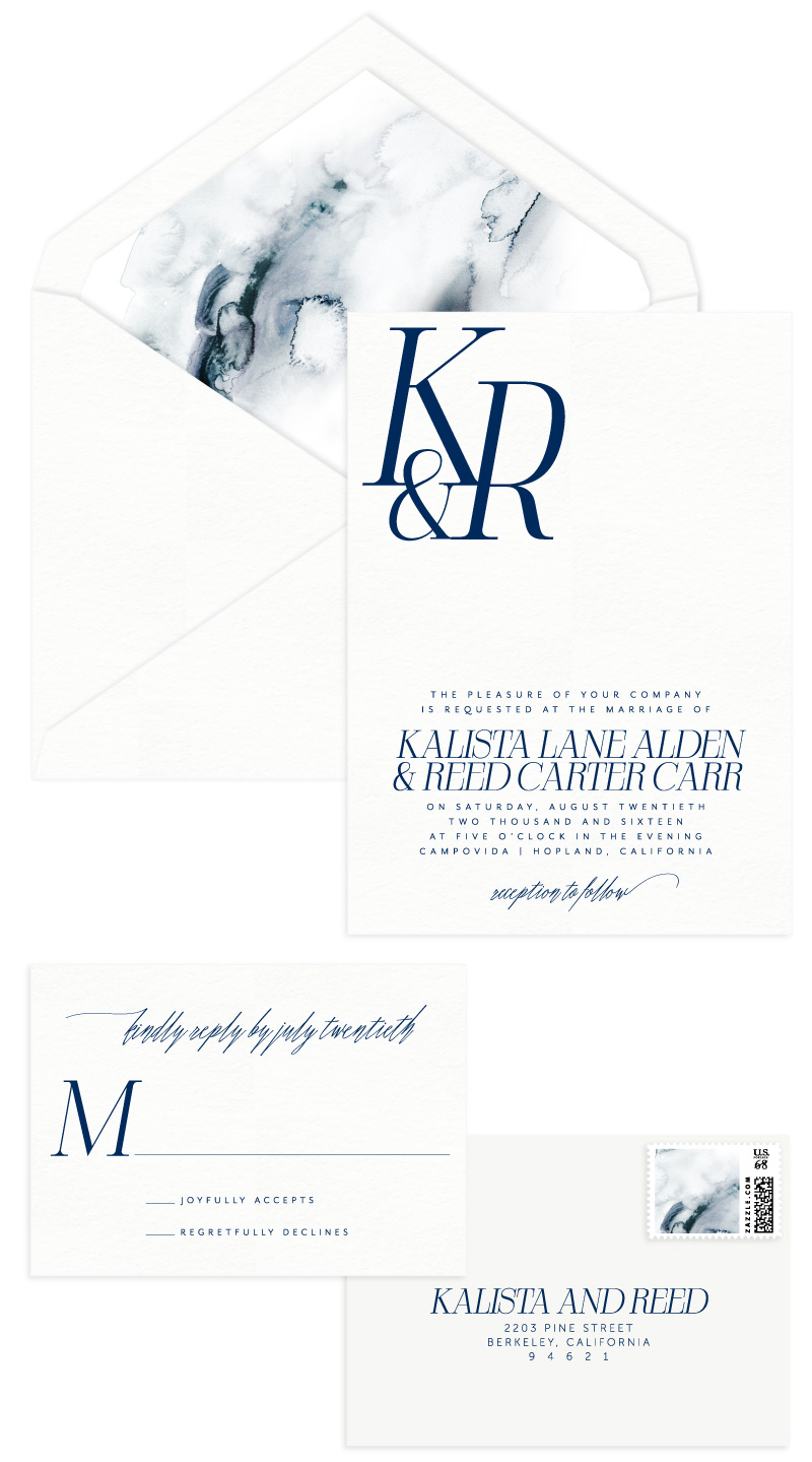 Alden Letterpress Wedding Invitation