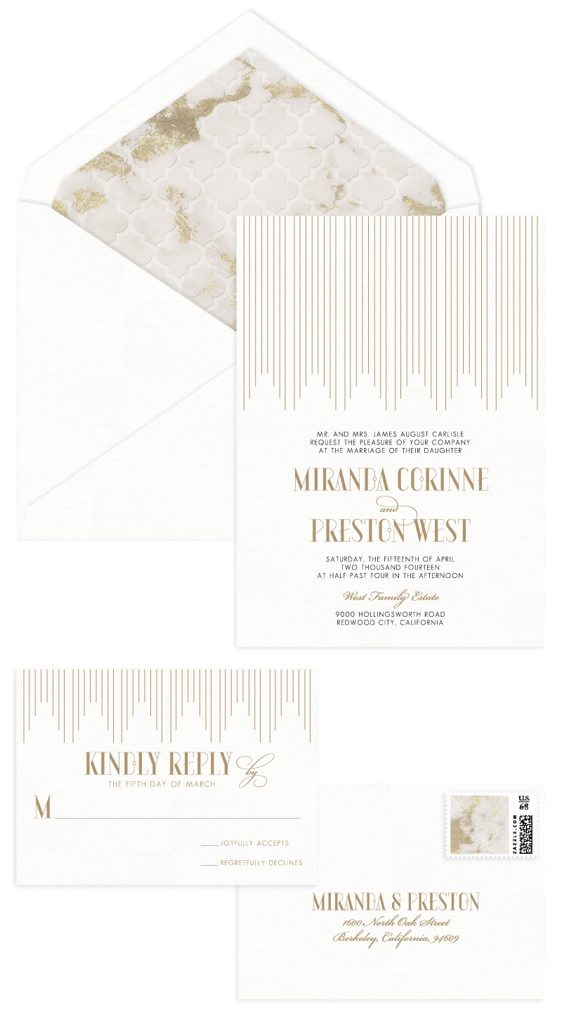 Empire Letterpress Wedding Invitation