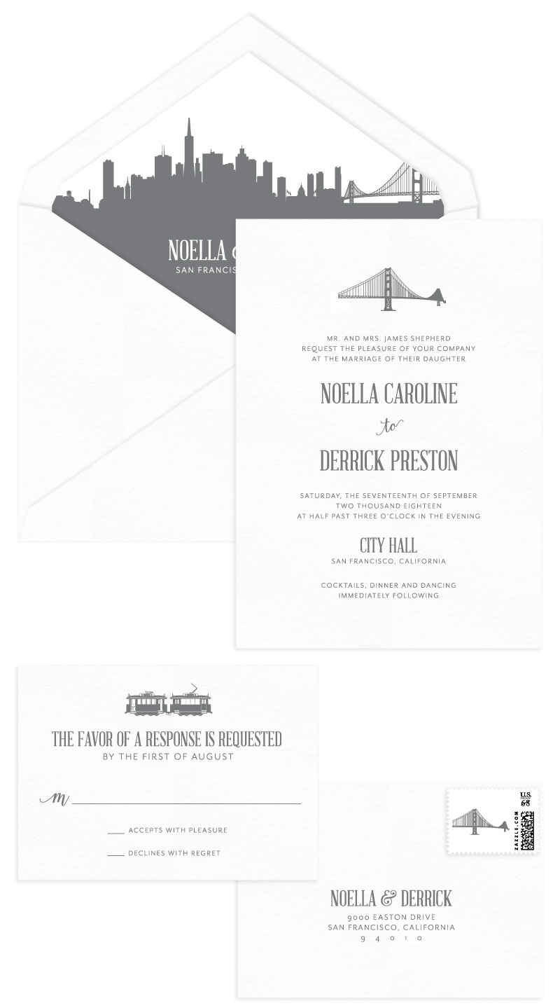 GoldenGate Letterpress Wedding Invitation