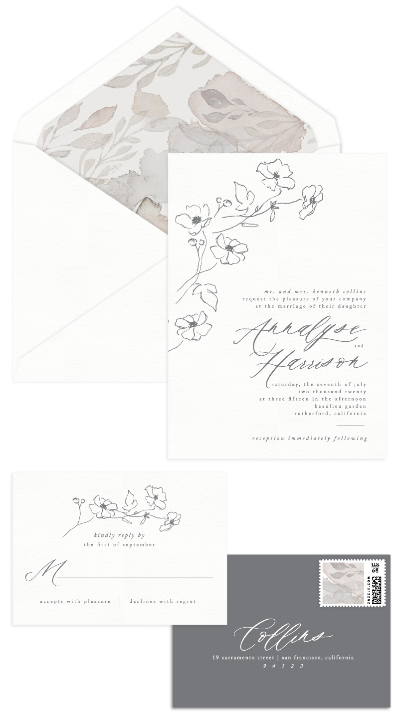 Montclair Letterpress Wedding Invitation