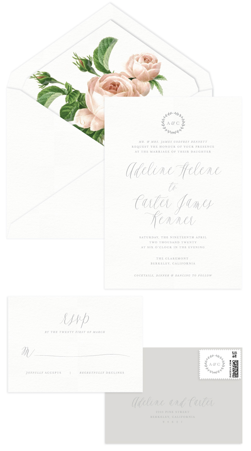Primrose Letterpress Wedding Invitation