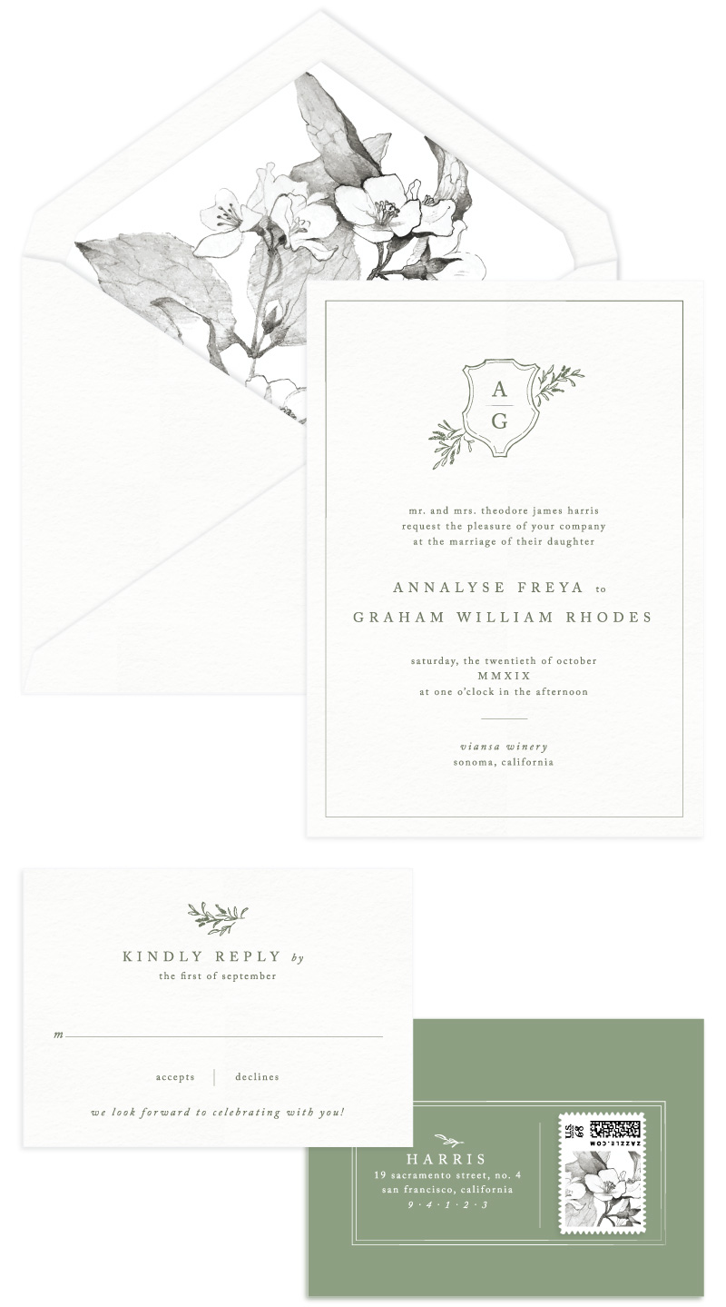 Sonoma Letterpress Wedding Invitation