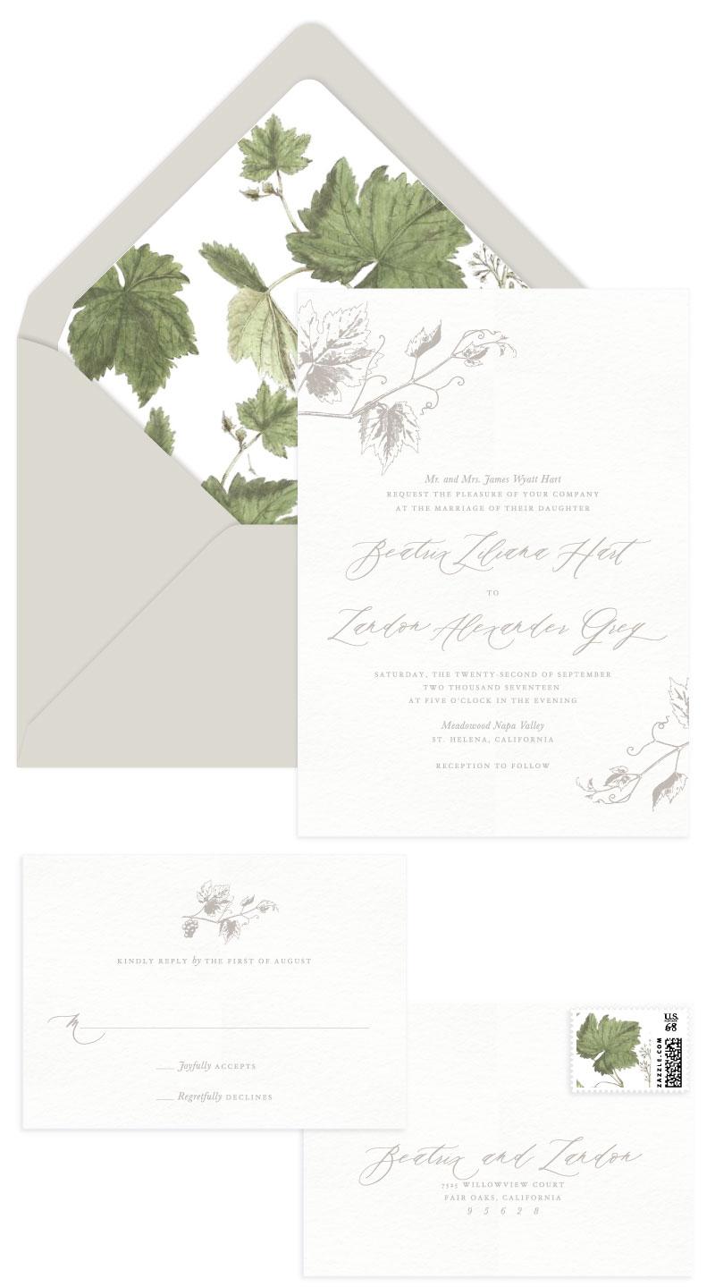 Vineyard Letterpress Wedding Invitation