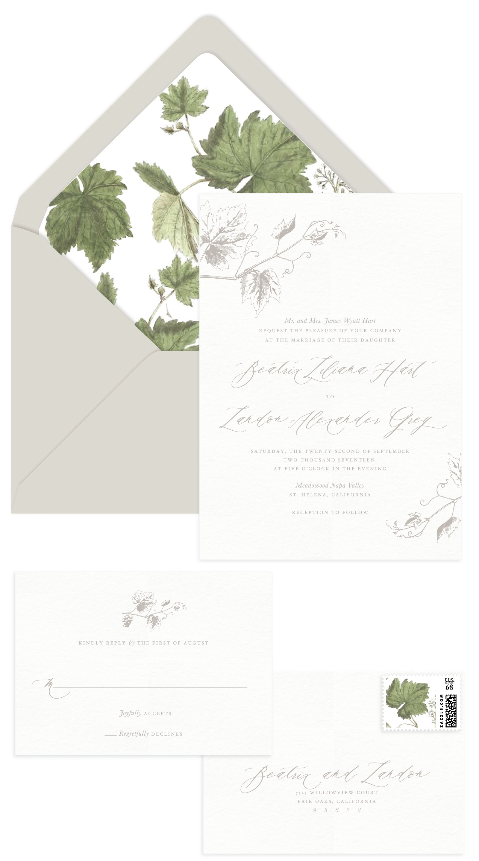 Vineyard Letterpress Wedding Invitation Aerialist Press
