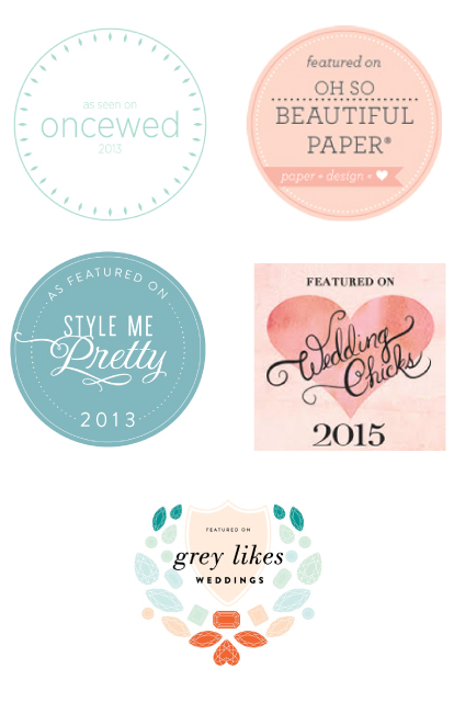 Blog Postings | Once Wed, Oh So Beautiful Paper, Style Me Pretty, Wedding Chicks, Grey Likes Weddings